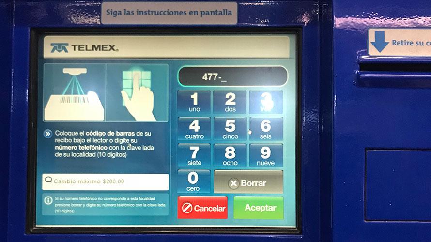 TELMEXの自動端末で利用料支払い