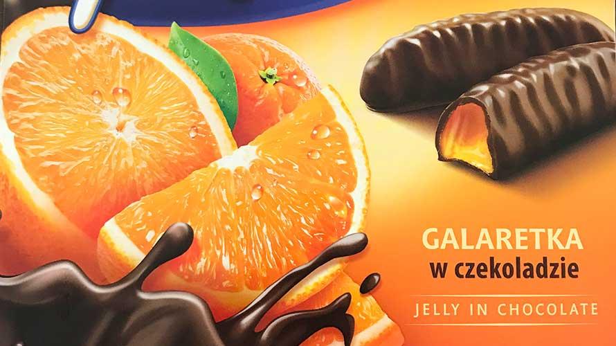 オレンジグミ入りチョコレート