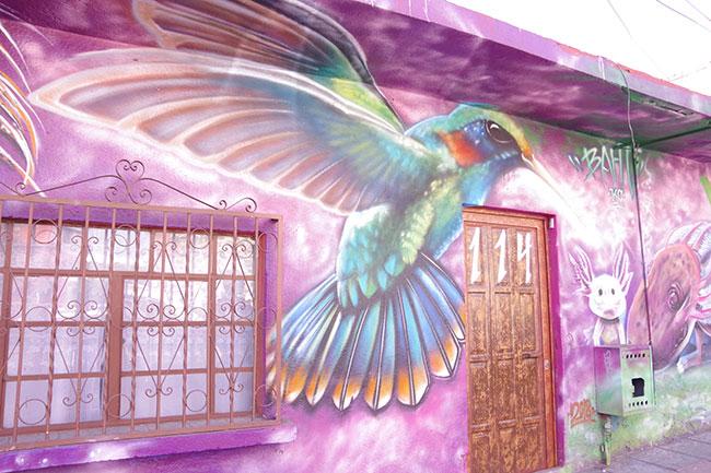 ハチドリの壁画