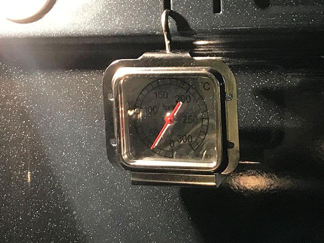 ガスオーブン用温度計をセット